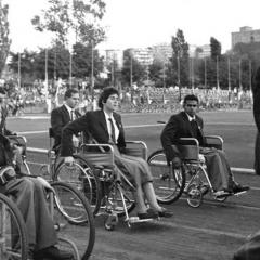 Members of the Australian team at the 1960 Rome Summer Paralympics Opening Ceremony. L-R: Bill Mather-Brown, Kevin Cunningham, Daphne Ceeney (later Hilton), Kevin Coombs and officials Kevin Betts and David Cheshire.