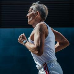 older man running