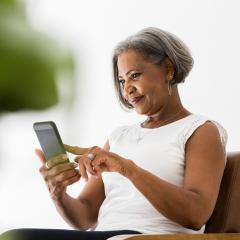 woman on her phone